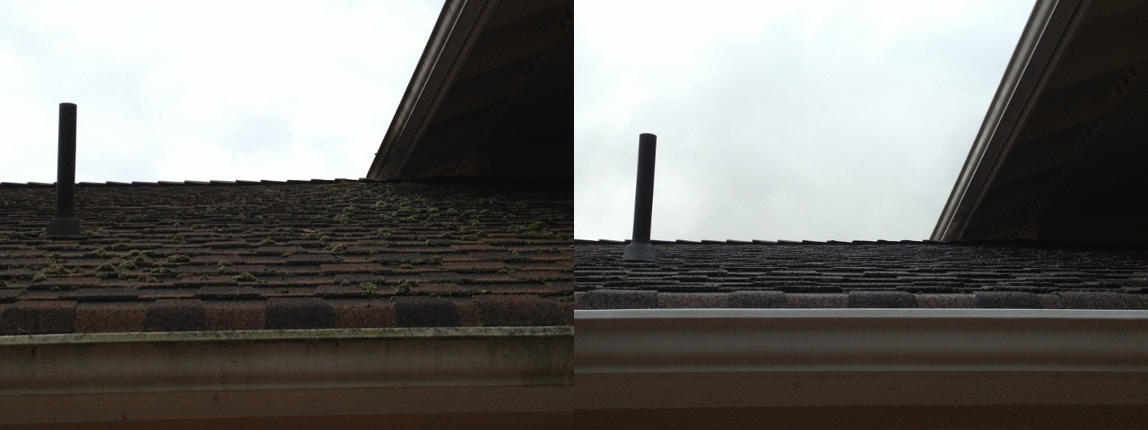 Gutter roof before and after